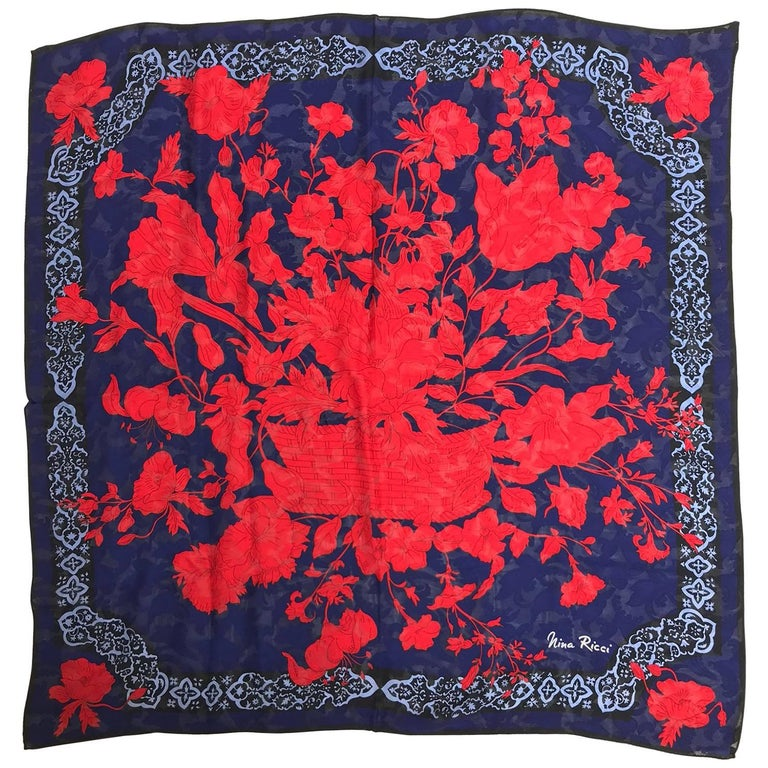 "Nina Ricci red and blue floral silk scarf 35"" x 35"""