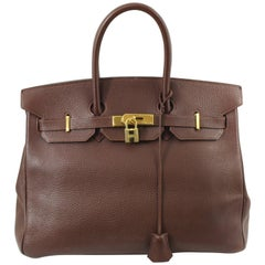 Birkin Hermes 35 in Havane ClemenceTaurillon Leather