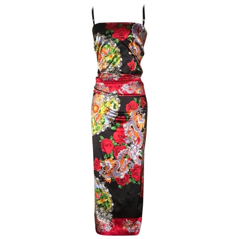Dolce & Gabbana Museum Piece Asian Inspired Dragon Fan Print Dress, 1990s   For Sale