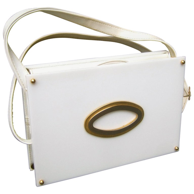 Saks Fifth Avenue Mod White Lucite Tile Handbag c 1970s For Sale