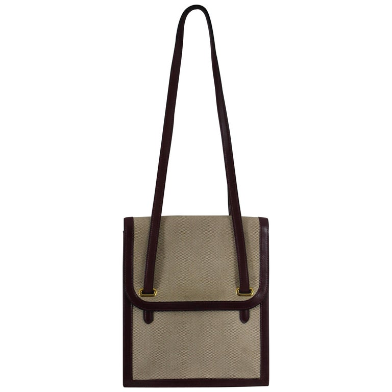 1979 Hermes Flat Canvas and Leather Vintage Bag