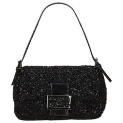 Black Fendi Beaded Baguette Shoulder Bag