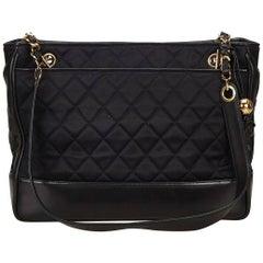 Black Chanel Quilted Nylon Shoulder Bag
