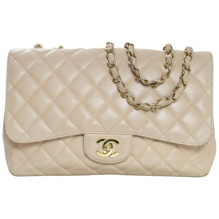 Chanel Beige Quilted Caviar Leather Jumbo Single Flap Bag with Box/Card/ DB For Sale