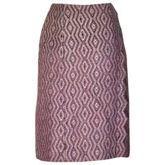 Chanel Purple Diamond Weave Pencil Skirt with Zig Zag Trim, 2001