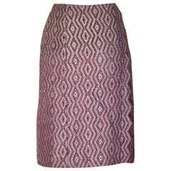 Chanel Purple Diamond Weave Pencil Skirt with Zig Zag Trim, 2001