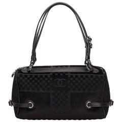 Black Chanel Velour Shoulder Bag