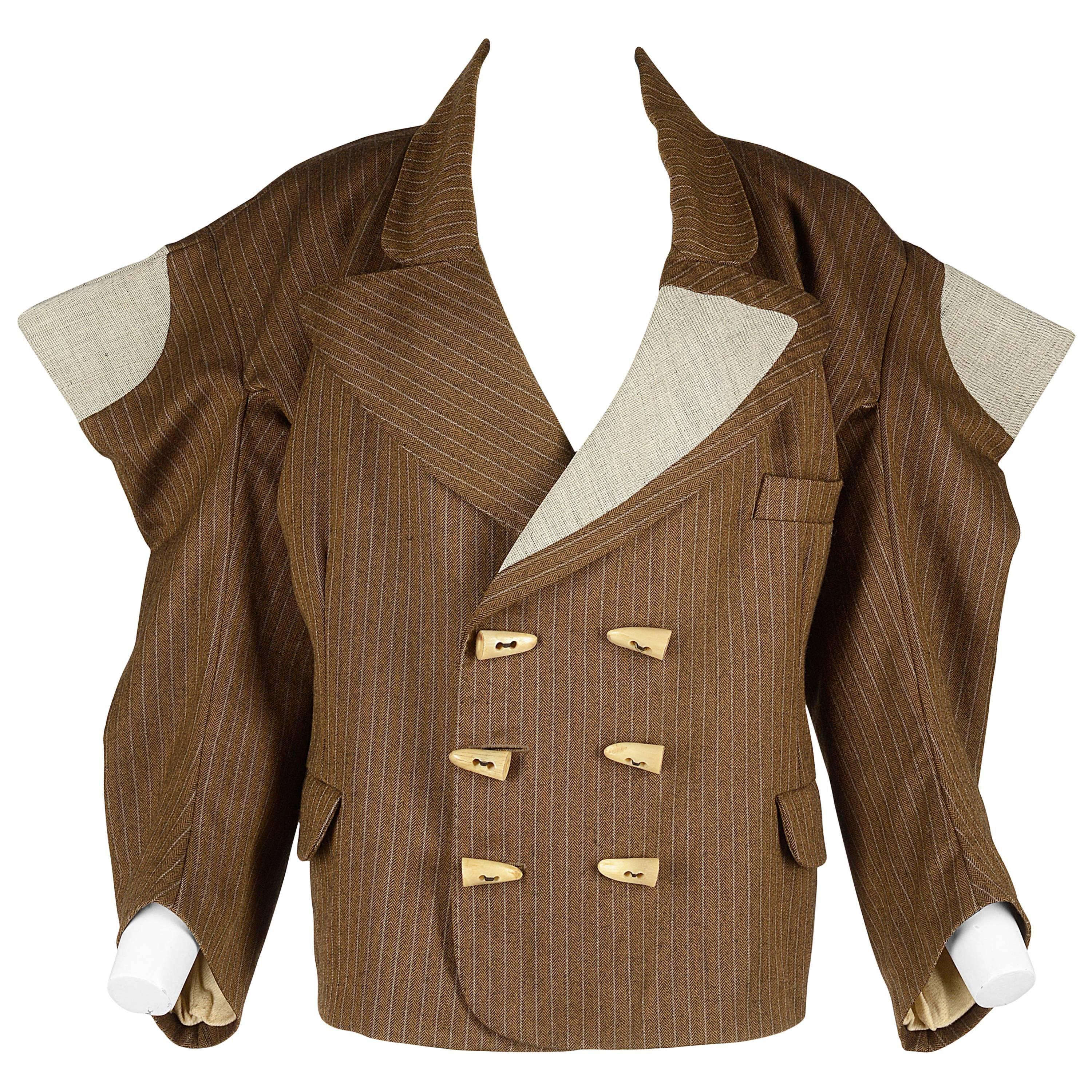 Worlds End brown pinstripe wool 'witches' double breasted jacket, AW 1983