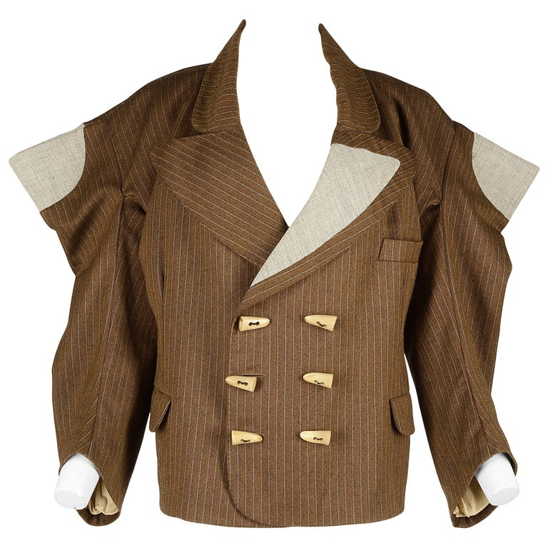 Worlds End brown pinstripe wool 'witches' double breasted jacket, AW 1983 For Sale