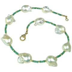 Emerald and Pearl Choker Necklace with Diamond Studded Clasp