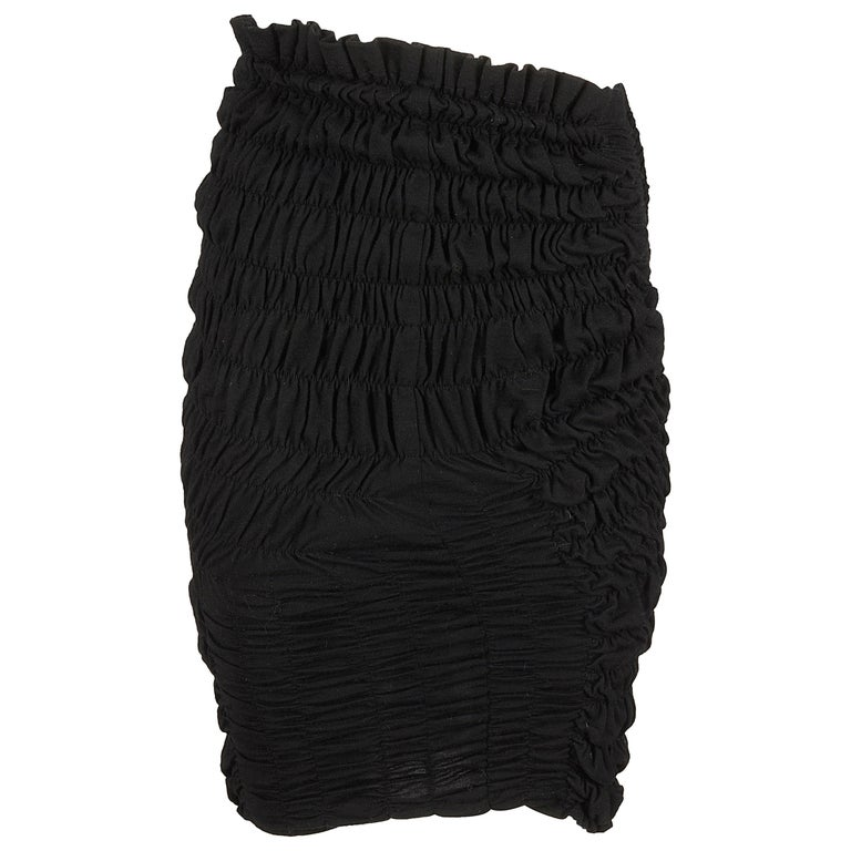 Comme des Garcons black wool smocked pencil skirt, AW 1989