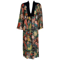 1972 Ossie Clark Colorful Floral Celia Birtwell Print Silk & Crepe Belted Dress