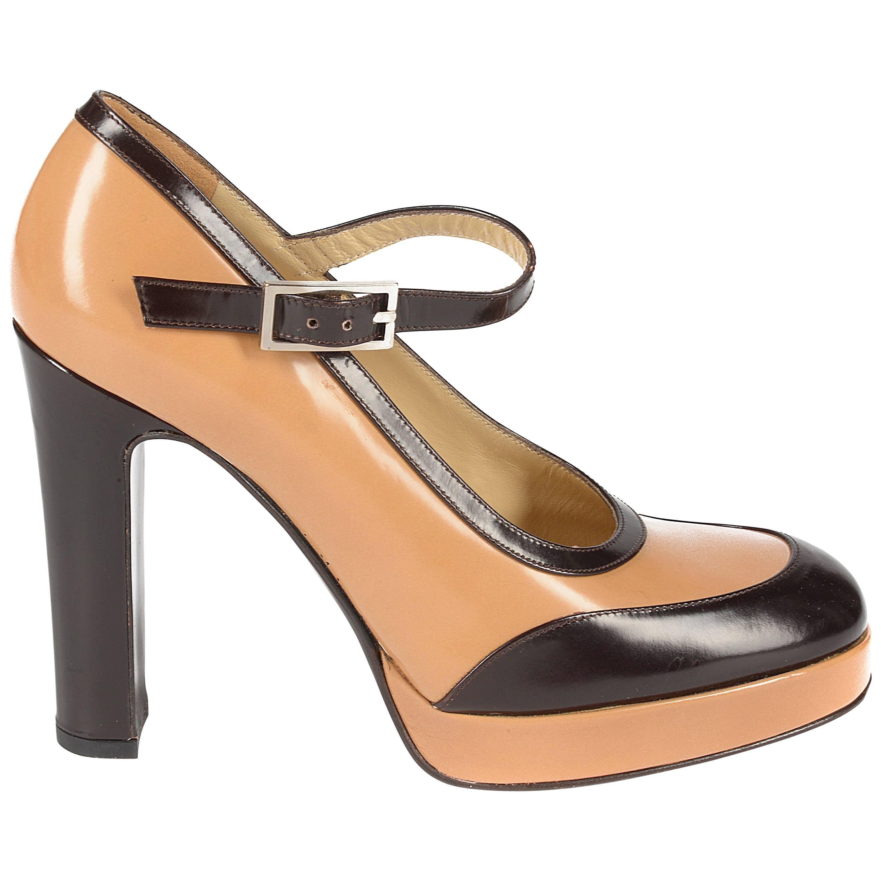 Dolce & Gabbana tan and brown leather platform sandals, sz 39