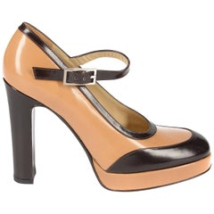 Dolce & Gabbana tan and brown leather platform sandals, sz 39