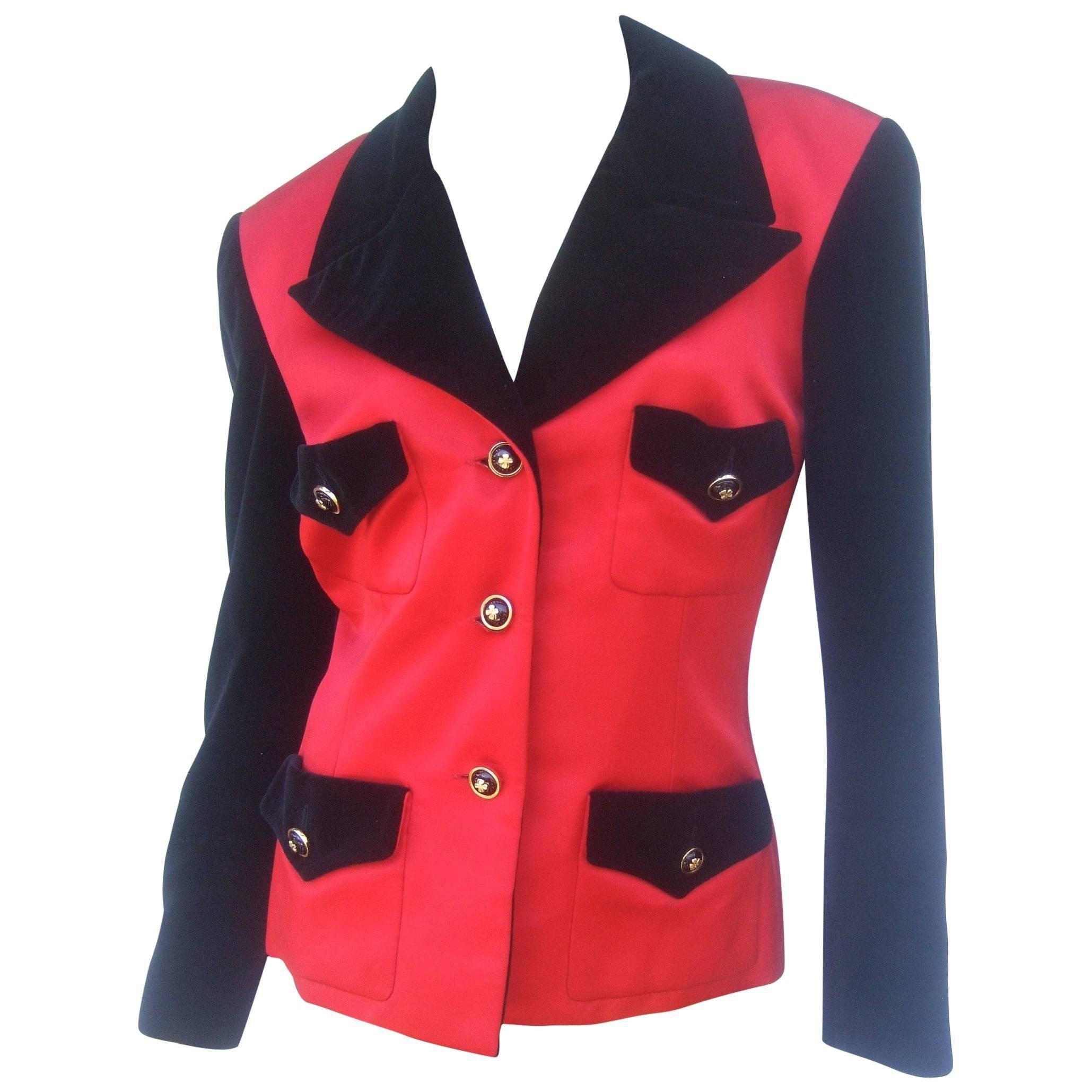 Chanel Boutique Scarlet Silk Black Velvet Evening Jacket, circa 1990s