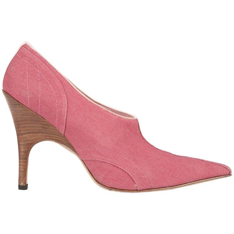 Alexander McQueen pink denim pointed boots with wooden heels,  sz 41