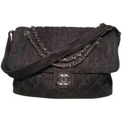 Chanel Denim Quilted XL Classic Messenger Flap Shoulder Bag Tote
