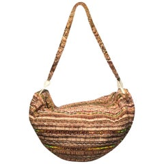 Chanel Tan Tweed & Sequin Woven Hammock Hobo Shoulder Bag
