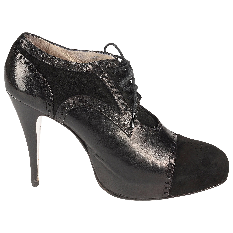 Vivienne Westwood black leather and suede platforms