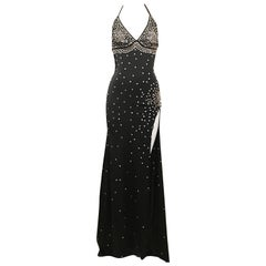Black Full Length Rhinestone Embellished Halter Dress, 1990s