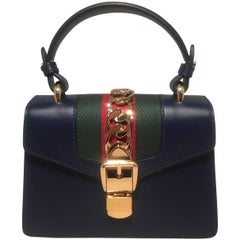 NEW Gucci Navy Blue Leather Sylvie Mini Kelly Style Handbag with Strap