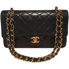 Chanel Black Leather 9 inch 2.55 Double Flap Classic Shoulder Bag