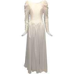 1980s Laura Ashley Lace Bodice Wedding Dress