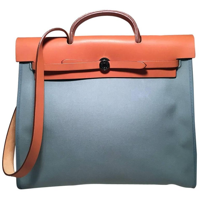 642e7aaad Hermes Blue Canvas Toile Herbag Tote For Sale at 1stdibs