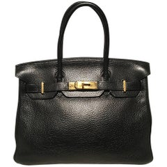 Hermes Black Clemence Leather Gold GHW 30cm Birkin Bag