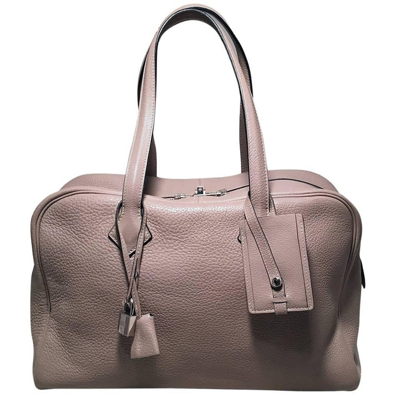 Hermes Grey Clemence Leather Victoria II 35cm Travel Tote Bag