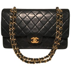 Chanel Black 10inch 2.55 Double Flap Classic Shoulder Bag