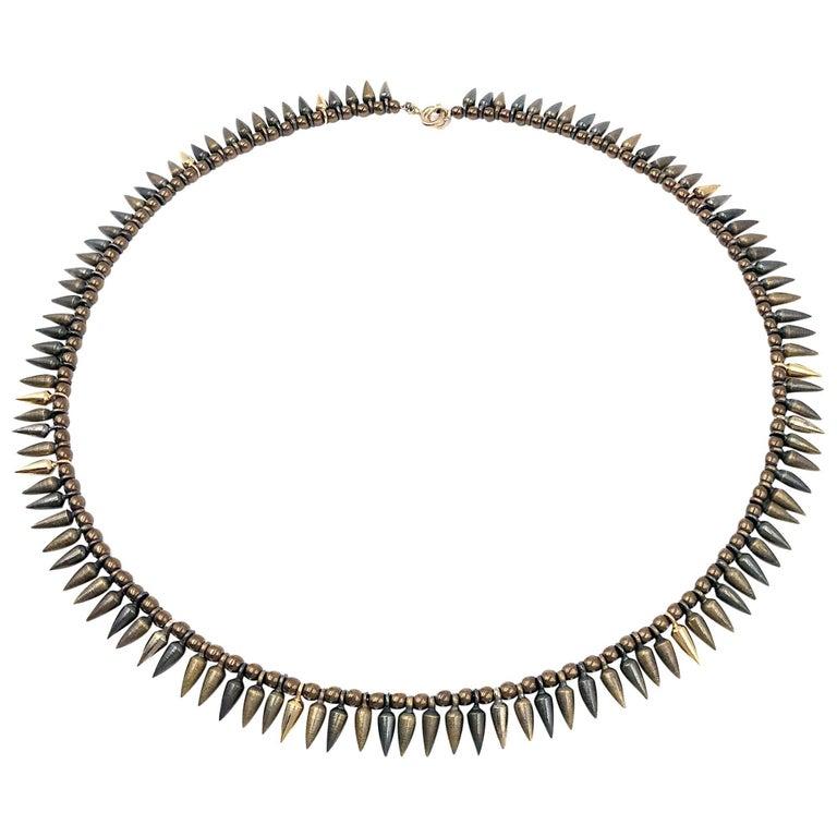 Estyn Hulbert Handmade Mixed Tone Bullet Bead Necklace For Sale