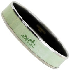Hermes Green Medium Calache Enamel Bangle Bracelet Sz 65