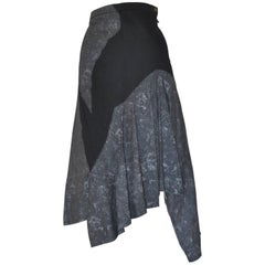 Issey Miyake 1990s Cotton Black and Grey w/Silver Grey Flakes Skirt (Japan 3)