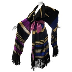 1970s Deconstructed YSL Woven Wool & Gold Metallic Kimono Duster W/ Wool Fringe