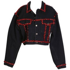 Dolce & Gabbana Vintage Black Denim Jacket Trimmed in Red Jewels, circa 1990s