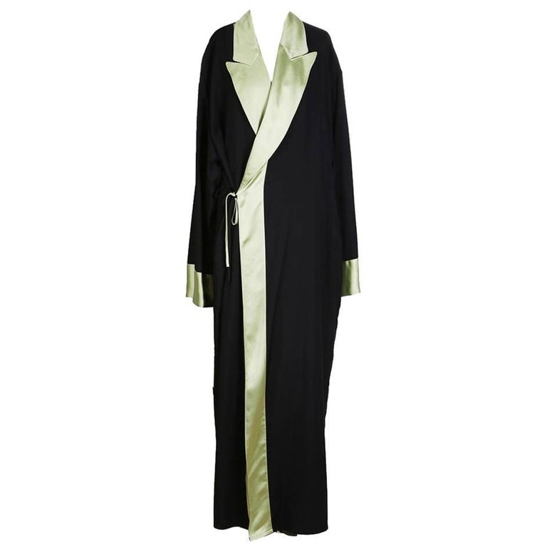 Jean Paul Gaultier Robe Coat with Contrasting Satin Lapel, circa 1990s