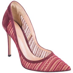 Gianvito Rossi Women's Burgundy Laced Suede Trim Pumps