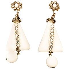1960s Miriam Haskell White Rhinestone Earrings
