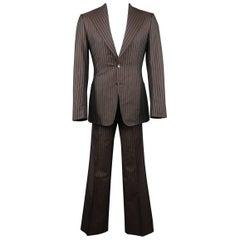 Men's GUCCI Size 36 Regular Cotton / Silk Brown Pinstripe Wide Notch Lapel Suit
