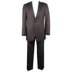 ERMENEGILDO ZEGNA 42 Long Taupe Charcoal Stripe Wool 2 pc Suit