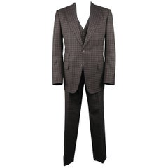 Tom Ford Men's Grey and Brown Checkered Tartan Wool Three Piece Suit