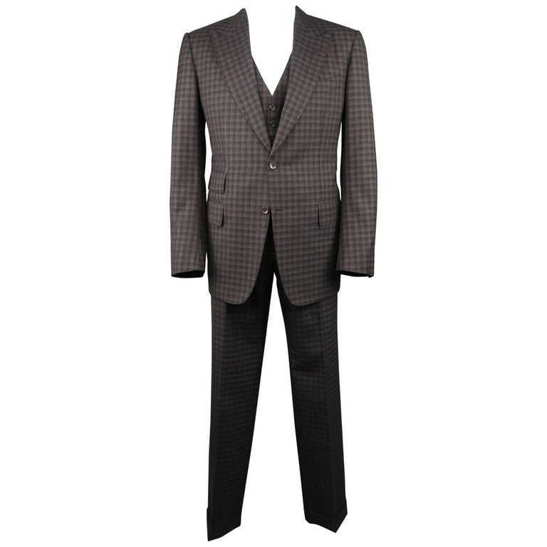 Tom Ford Men's 44 Long Grey and Brown Checkered Tartan Wool Three Piece Suit