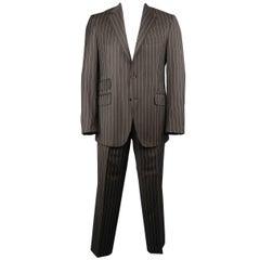 Etro Men's 42 Regular Brown Chalk Stripe Wool Notch Lapel Two Piece Suit