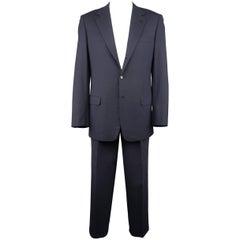 Brioni-Nomentano Men's 42 Long Wool Navy Notch Lapel Pleated 2 piece Suit
