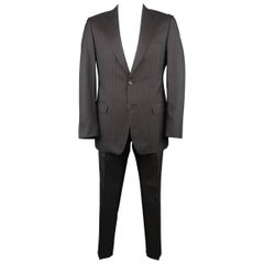 Men's GUCCI 42 Regular Charcoal Stripe Wool / Silk Notch Lapel 2 pc Suit