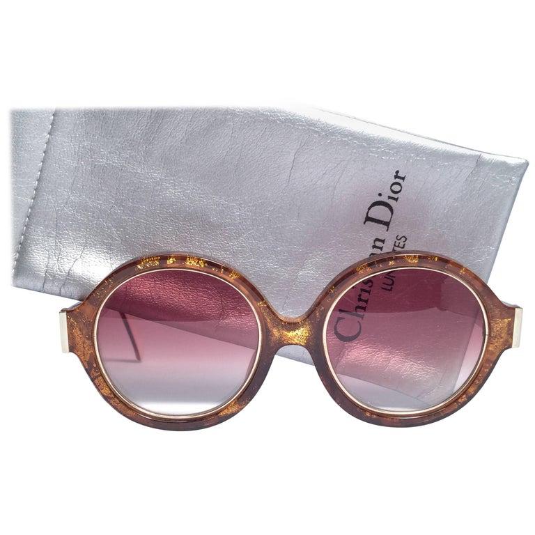 New Vintage Christian Dior 2446 40 Translucent Amber & Gold Optyl Sunglasses