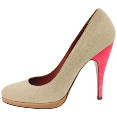 Lanvin Natural Linen Round Toe Pumps with Pink Wooden Heels