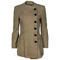 Giorgio Armani Vintage Plaid Asymmetrical Jacket Sz IT42