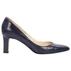 Navy Blue Manolo Blahnik Leather Pumps